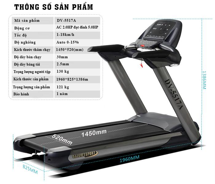 Kích thước sản phẩm máy chạy bộ gym DV-5517A