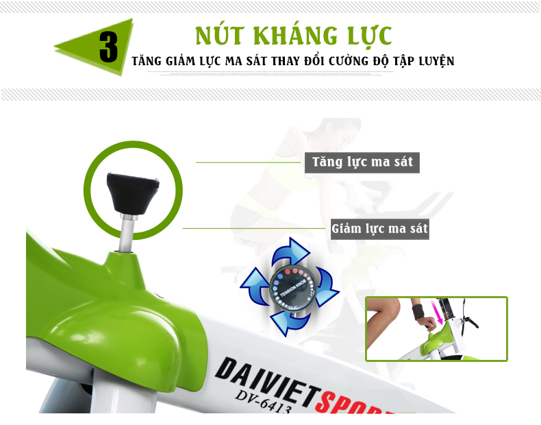 điều chỉnh lực Xe đạp tập ĐẠI Việt DV-6413
