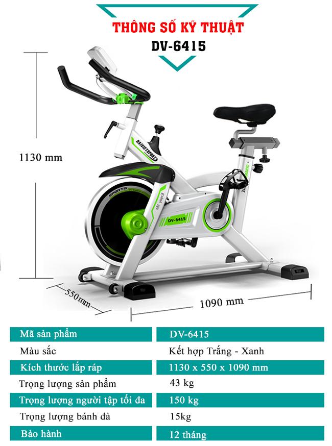 Thông số xe đạp tập thể thao DV-6415